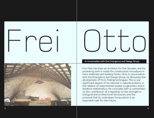 Frei otto in conversation with the emergence design for Architectural design vol 82 no